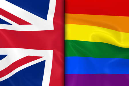 opposed: Flags of Gay Pride and the UK Split Down the Middle - 3D Render of the Gay Pride Rainbow Flag and the United Kingdom Flag with Silky Texture