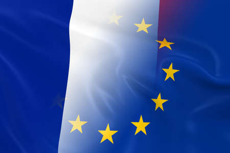 fading: French and European Relations Concept Image - Flags of France and the European Union Fading Together