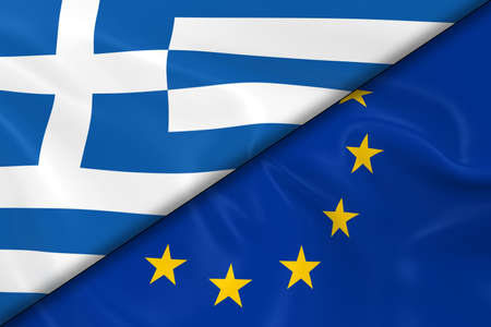 diagonally: Flags of Greece and the European Union Divided Diagonally - 3D Render of the Greek Flag and EU Flag with Silky Texture Stock Photo