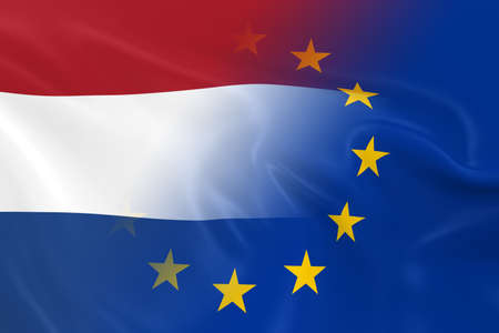 opposed: Dutch and European Relations Concept Image - Flags of the Netherlands and the European Union Fading Together Stock Photo