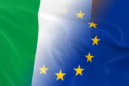 opposed: Irish and European Relations Concept Image - Flags of Ireland and the European Union Fading Together
