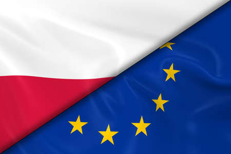 polish flag: Flags of Poland and the European Union Divided Diagonally - 3D Render of the Polish Flag and EU Flag with Silky Texture