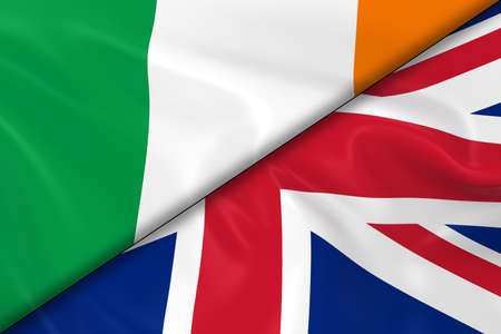opposed: Flags of Ireland and the United Kingdom Divided Diagonally - 3D Render of the Irish Flag and UK Flag with Silky Texture Stock Photo