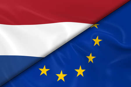 divided: Flags of the Netherlands and the European Union Divided Diagonally - 3D Render of the Dutch Flag and EU Flag with Silky Texture