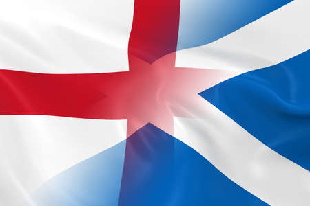 English and Scottish Relations Concept Image - Flags of England and Scotland Fading Together