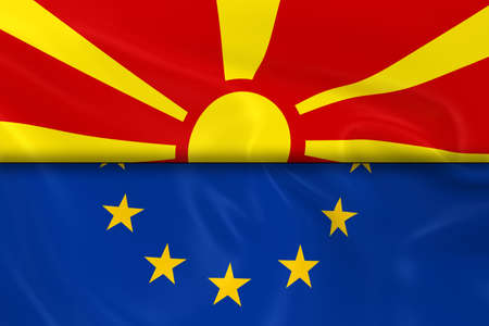 macedonian flag: Flags of Macedonia and the European Union Split in Half - 3D Render of the Macedonian Flag and EU Flag with Silky Texture