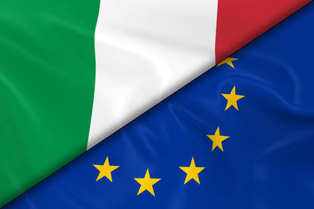 divided: Flags of Italy and the European Union Divided Diagonally - 3D Render of the Italian Flag and EU Flag with Silky Texture