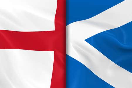 scottish flag: Bandiere di Inghilterra e Scozia diviso a met� - rendering 3D della bandiera inglese e bandiera scozzese con texture setosa Archivio Fotografico