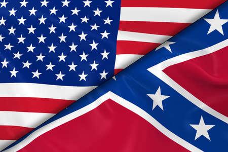 banderas america: Banderas de los Estados Unidos de América y la Confederación divididos por una diagonal - 3d de la bandera de la bandera confederada y americano con textura sedosa