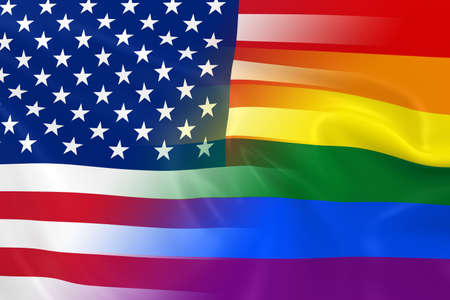 gay pride: Gay Pride in America Concept Image - Gay Pride Rainbow Flag and the United States Flag Fading Together
