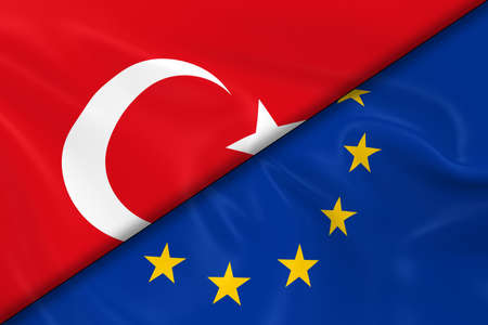 divided: Flags of Turkey and the European Union Divided Diagonally - 3D Render of the Turkish Flag and EU Flag with Silky Texture
