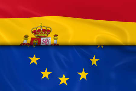 spanish flag: Flags of Spain and the European Union Split in Half - 3D Render of the Spanish Flag and EU Flag with Silky Texture