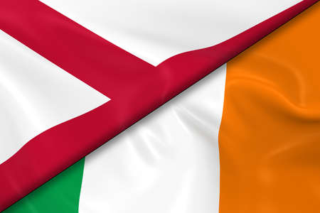 opposed: Flags of Northern Ireland and Ireland Divided Diagonally - 3D Render of the Northern Irish Flag and Irish Flag with Silky Texture