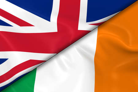 irish flag: Flags of the United Kingdom and Ireland Divided Diagonally - 3D Render of the UK Flag and Irish Flag with Silky Texture Stock Photo