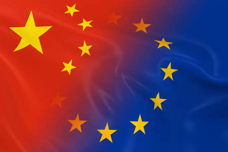 fading: Chinese and European Relations Concept Image - Flags of China and the European Union Fading Together Stock Photo