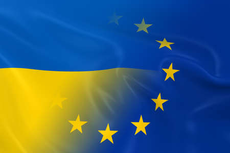 opposed: Ukrainian and European Relations Concept Image - Flags of Ukraine and the European Union Fading Together