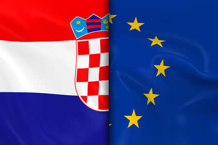 opposed: Flags of Croatia and the European Union Split Down the Middle - 3D Render of the Croatian Flag and EU Flag with Silky Texture