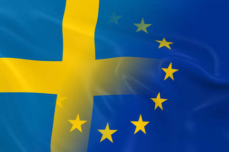 merged: Swedish and European Relations Concept Image - Flags of Sweden and the European Union Fading Together