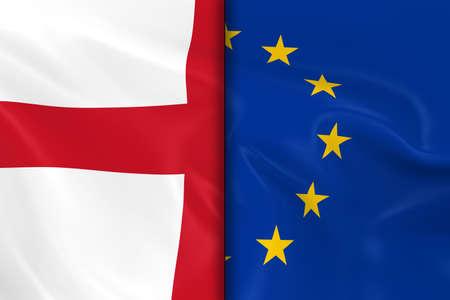 drapeau anglais: Drapeaux de l'Angleterre et l'Union europ�enne de Split vers le bas Moyen - 3D render du drapeau et de l'Union europ�enne Drapeau anglais avec Silky Texture