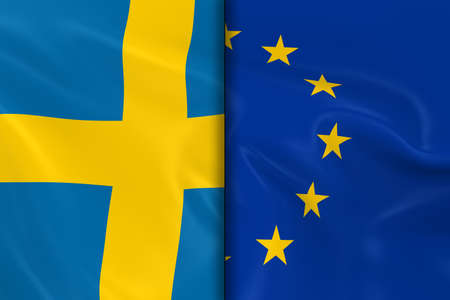 eu flag: Flags of Sweden and the European Union Split Down the Middle - 3D Render of the Swedish Flag and EU Flag with Silky Texture Stock Photo