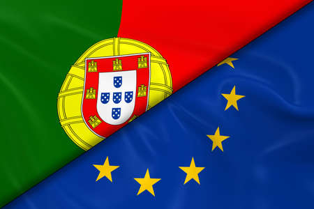 diagonally: Flags of Portugal and the European Union Divided Diagonally - 3D Render of the Portuguese Flag and EU Flag with Silky Texture
