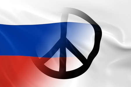 opposed: Peace in Russia Concept - Russian Flag overlaid on White Peace Flag