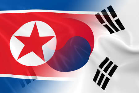 opposed: North Korean and South Korean Relations Concept Image - Flags of North Korea and South Korea Fading Together