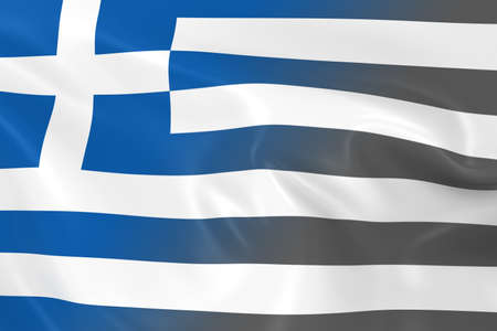 fading: National Decline Concept - Flag of Greece Fading into Black and White
