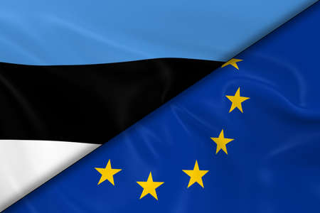 diagonally: Flags of Estonia and the European Union Divided Diagonally - 3D Render of the Estonian Flag and EU Flag with Silky Texture