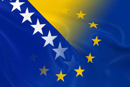 fading: Bosnian and Herzegovinian and European Relations Concept Image - Flags of Bosnia and Herzegovina and the European Union Fading Together