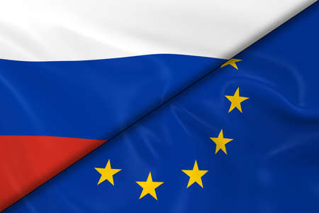 russian flag: Flags of Russia and Europe Divided Diagonally - 3D Render of the Russian Flag and European Flag with Silky Texture