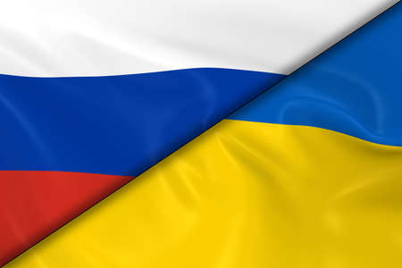 russian flag: Flags of Russia and the Ukraine Divided Diagonally - 3D Render of the Russian Flag and Ukrainian Flag with Silky Texture