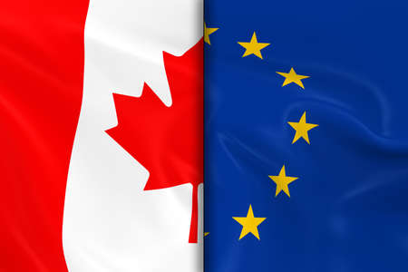 opposed: Flags of Canada and the European Union Split Down the Middle - 3D Render of the Canadian Flag and EU Flag with Silky Texture Stock Photo