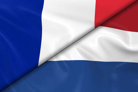diagonally: Flags of France and Holland Divided Diagonally - 3D Render of the French Flag and Dutch Flag with Silky Texture