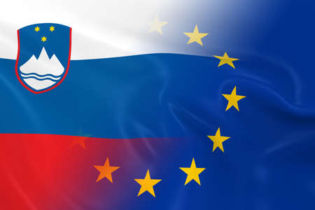 fading: Slovenian and European Relations Concept Image - Flags of Slovenia and the European Union Fading Together Stock Photo