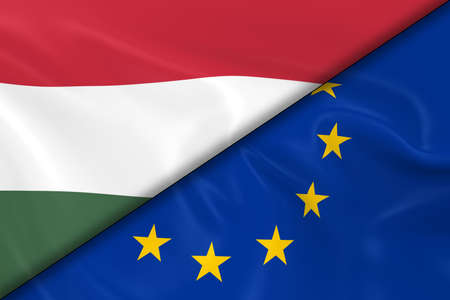 divided: Flags of Hungary and the European Union Divided Diagonally - 3D Render of the Hungarian Flag and EU Flag with Silky Texture Stock Photo