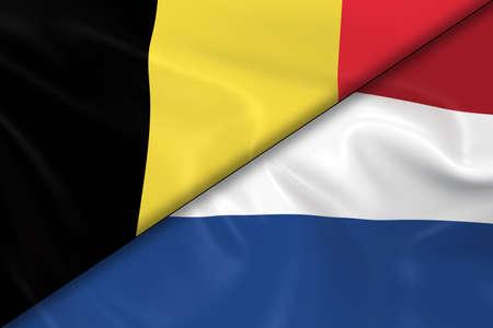 Flaggen von Belgien und den Niederlanden Schräg Geteilt - 3D der belgischen Flagge und niederländischen Flagge mit seidiger Textur Render Standard-Bild