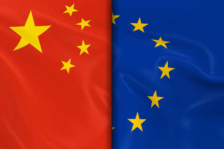opposed: Flags of China and the European Union Split Down the Middle - 3D Render of the Chinese Flag and EU Flag with Silky Texture Stock Photo