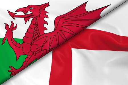 welsh flag: Bandiere del Galles e Inghilterra divisa in diagonale - 3D rendering di Welsh Flag e inglese bandiera con texture setosa Archivio Fotografico