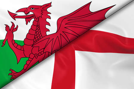 welsh flag: Flags of Wales and England Divided Diagonally - 3D Render of the Welsh Flag and English Flag with Silky Texture Archivio Fotografico