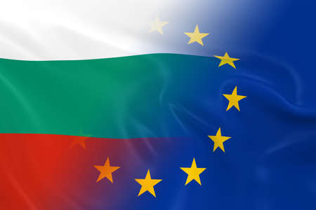 fading: Bulgarian and European Relations Concept Image - Flags of Bulgaria and the European Union Fading Together