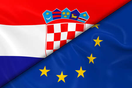 diagonally: Flags of Croatia and the European Union Divided Diagonally - 3D Render of the Croatian Flag and EU Flag with Silky Texture Stock Photo