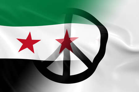 syrian: Peace in Syria Concept - Syrian Opposition Flag overlaid on White Peace Flag