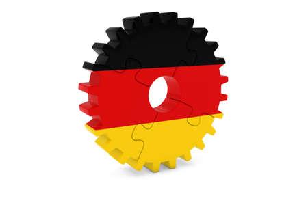 ドイツの企業コンセプト - ドイツ 3 D Cog ホイール パズル イラストの旗