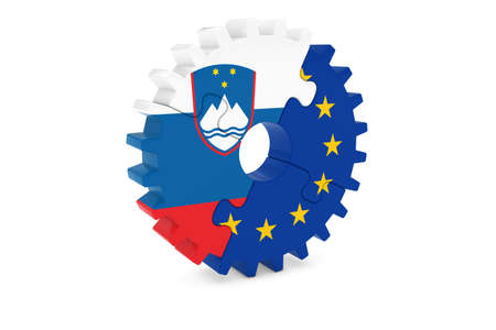 slovenian: Slovenian and European Cooperation Concept 3D Illustration