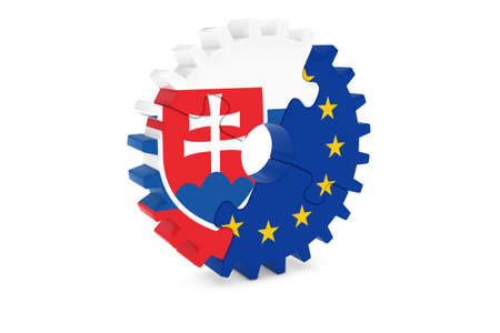 slovakian: Slovakian and European Cooperation Concept 3D Illustration