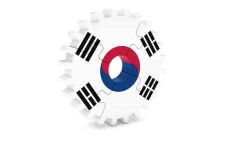 韓国産業コンセプト - 韓国 3 D Cog ホイール パズル イラストの旗