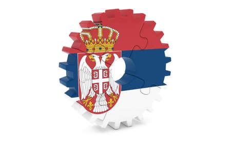 セルビア構想 - セルビア 3 D Cog ホイール パズル イラストの旗 写真素材