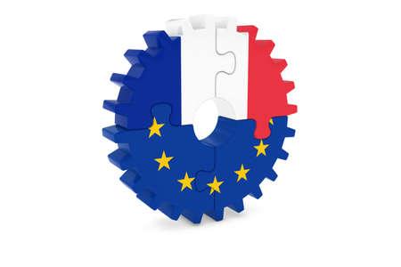 フランスとヨーロッパの協力の概念 3 D イラスト