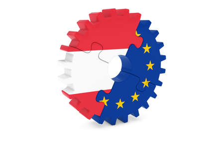 austrian: Austrian and European Cooperation Concept 3D Illustration